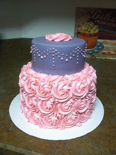 pink+and+grey+damask+shower+cake | Pink and grey baby shower cake for another little girl – red velvet ...