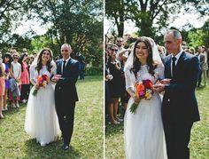 Custom made lace-top wedding dress! She looks fab!