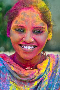 Colourful Indian woman at Holi Festival, India by Julieanne Birch Holi Festival India, Holi Festival Of Colours, Indian Colours, Hindu Festivals, Beauty Women, Portrait Photography, Royalty Free Stock Photos, Photo And Video, Bhutan