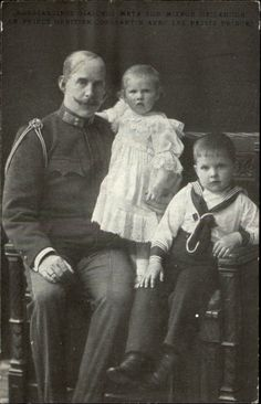 King Constantine I of Greece with a son and daughter.  Constantine became king when his father, King George I was assassinated in 1913.  Constantine married Princess Sophie of Prussia ,the only sister of Kaiser Wilhelm II, who fortunately did not look like him.  Sophie was another granddaughter of Queen Victoria.  Constantine and Sophie had six children.