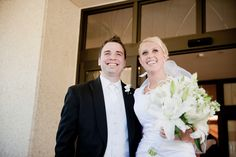 Matt Shumate Photography at the LDS Seattle Temple wedding bride and groom coming out of the temple Just Married