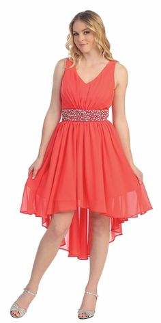 975f6f23acc CLEARANCE - V Neckline High Low Coral Dress Rhinestone Empire Waist (Size XL).  Orange Formal DressesWinter ...