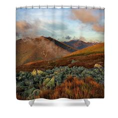 Mountain morning Shower Curtain by Ren Kuljovska. This shower curtain is made from polyester fabric and includes 12 holes at the top of the curtain for simple hanging. The total dimensions of the shower curtain are wide x tall. Two Shower Curtains, Shower Curtain Rings, Trash Day, Curtains For Sale, Basic Colors, Beautiful Artwork, Looking Gorgeous, How To Be Outgoing, Color Show