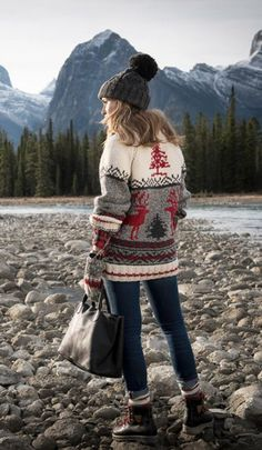 Sweater: christmas christmas printed denim jeans blue jeans bag black bag tote bag boots flat boots
