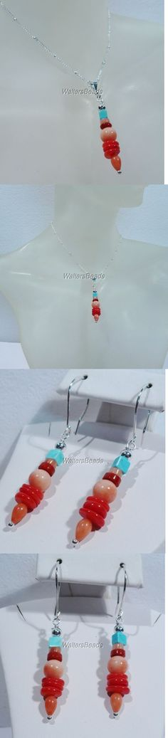 Sets 34071: Earring Necklace Jewelry Set Red And Peach Coral Turquoise Sterling Silver 20 -> BUY IT NOW ONLY: $36.98 on eBay!
