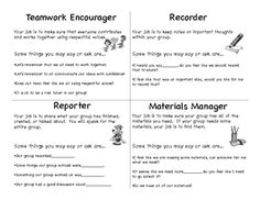 cooperative learning role cards pdf