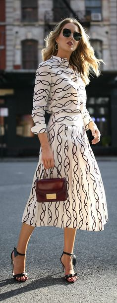 Transitional Favorites // Patterned blouse, pleated midi skirt, black  ankle strap sandals, burgundy handbag, oversized sunglasses {Tory Burch,  Alexandre Birman, workwear, wear to work style, creative office style}