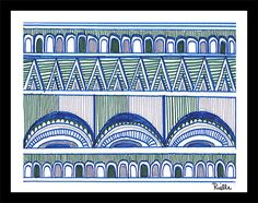 """Greeting Art Card w/envelope, """"Orderly Conduct,"""" by Rielle 5 1/2"""" x 4 1/4"""" on Etsy, $4.99"""