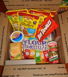 """Fiesta in a Box"" - A little snack & taste of home to send downrange - Military. ""Fiesta in a Box"" - A little snack & taste of home to . Missionary Care Packages, Missionary Gifts, Deployment Care Packages, College Care Packages, Teacher Gifts, Homemade Gifts, Diy Gifts, Soldier Care Packages, Soldier Care Package Ideas"