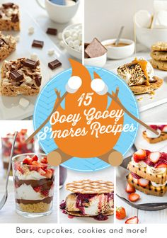 15 Ooey-Gooey S'mores Recipes. Gather around the campfire, skewer up some marshmallows and get your ooey-gooey marshallow-y goodness on! Sweet Desserts, Easy Desserts, Sweet Recipes, Delicious Desserts, Dessert Recipes, Yummy Food, Breakfast Recipes, Edamame, Ooey Gooey Recipe