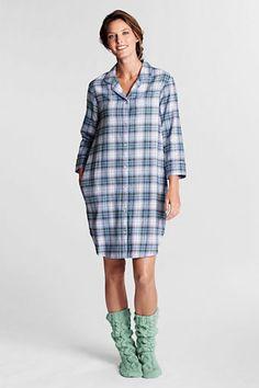 71528abc6e Women s Regular Knee Length Print Flannel Sleep Shirt - Frost Blue Plaid