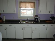 Ordinaire Purple Background Color With White Retro Metal Kitchen Cabinets
