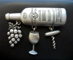 Wine Bottle Corkscrew Grapes pin JJ pewter by dollherup on Etsy, $16.00