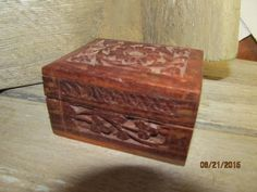 """Vintage India Hand Carved Wood Wooden Trinket Jewelry Treasure Box 3""""x 2 3/4"""" x 1 3/4"""" by EvenTheKitchenSinkOH on Etsy"""