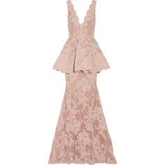 Marchesa Tulle-paneled guipure lace peplum gown ($5,070) ❤ liked on Polyvore featuring dresses, gowns, long dress, marchesa, long pink dress, pink gown, pink baby gown, long dresses and marchesa gowns