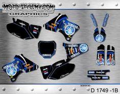 Moto-StyleMX graphics kit as shown. Yamaha Yzf, Decals, Graphics, Kit, Motorbikes, Tags, Graphic Design, Sticker, Decal