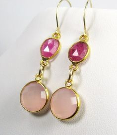MiShelli Designs Jewelry - Pink Sapphire and Chalcedony Gold Earrings, $79.00 (http://www.mishellidesigns.com/pink-sapphire-and-chalcedony-gold-earrings/)