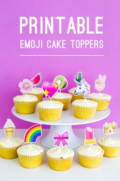 Emoji Cake Topper DIY Printable Download Fun cupcake heart unicorn watermelon rainbow_-20 Title