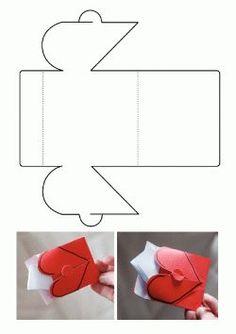 Kalp Kalıbı. Heart envelope printables. Molde del Sobre del corazón. Сердечный конверт.