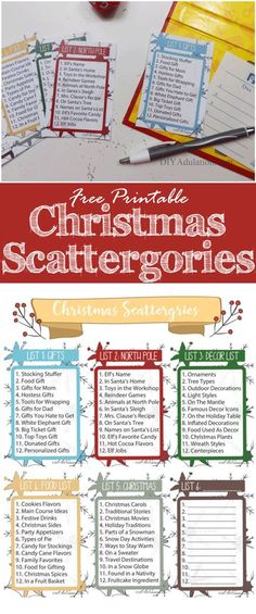 Free Printable Christmas Scattergories Game – DIY Adulation Start a new holiday tradition with your family and friends this year. This free printable Christmas Scattergories game is perfect for a festive fun night! Xmas Games, Holiday Games, Holiday Fun, Free Christmas Games, Christmas Games For Family, Family Christmas Party Games, Christmas Trivia, Fun Games, Christmas Movies