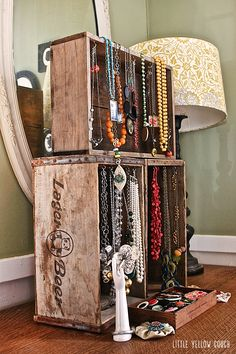 Wooden Crate Jewelry Display