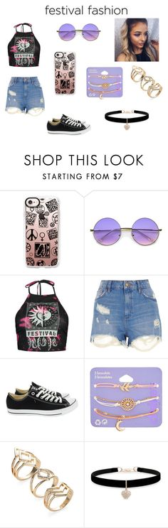 """festival"" by kyleighwortham on Polyvore featuring Casetify, ZeroUV, Boohoo, River Island, Converse, claire's and Betsey Johnson"