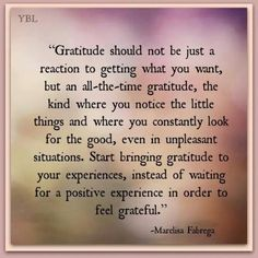 "Positive messages, gratitude quotes: ""Gratitude should not be just a reaction to getting what you want, but an all-the-time gratitude, the kind where you notice the little things..."" Marelisa Fabrega"