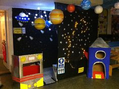 A super Outer Space classroom role-play area photo contribution. Great ideas for your classroom! Space Theme Classroom, Classroom Displays, Physics Classroom, Dramatic Play Area, Dramatic Play Centers, Dramatic Play Themes, Space Preschool, Preschool Activities, Outer Space Activities