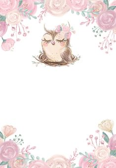 Cute Owls Wallpaper, Flower Background Wallpaper, Flower Backgrounds, Baby Shower Invitation Templates, Shower Invitations, Owl Invitations, Baby Shower Templates, Eid Crafts, Baby Boy Cards