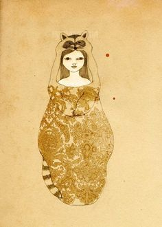 Irena Sohpia Little Thief- Girl and Raccoon -Deluxe Edition Print of original drawing