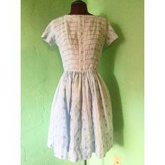 Blue Lace Floral Vintage 1950s Day Dress by StardustVintageRetro