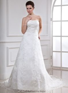 A-Line/Princess Sweetheart Chapel Train Satin Lace Wedding Dress With Beadwork (002000185)