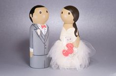 "LACE TULLE Wedding Wooden Peg Doll Cake Topper with 3D Accessories - Custom made & Personalized...Bride and Groom are 3-1/2"" tall, made out of wood and clay, hand painted and sealed. Bride's dress has lace and/or tulle added to it."