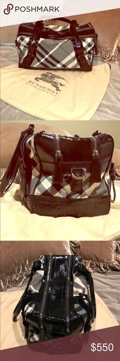 "❄️ BURBERRY ❄️ Nova Check Bowling Bag Gently used and lovingly cared for, Burberry Nova Checked bowling bag with black patent leather. Classic piece necessary to complete any wardrobe or outfit! Original dust bag included as well cross body hardware. Cross body strap with removable buckles. 15"" in length, 7"" wide, and 8"" deep. Some scratching on bottoms edges as noted in pictures. Offers welcome! ❄️ Burberry Bags Satchels"