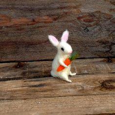 Felt bunny miniature animal carrot Needle felt tiny by CozyMilArt