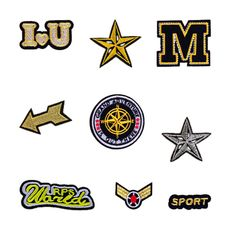 New Cool Brand Star/I love U/Sport Patches Iron On Or Sew Fabric Sticker For Clothes Badge Embroidered Appliques DIY #Affiliate