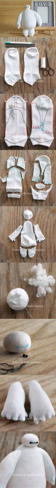 For those who are fans of Baymax and want to make them. Here, DIY Baymax from socks Sock Crafts, Cute Crafts, Sewing Crafts, Diy And Crafts, Crafts For Kids, Arts And Crafts, Paper Crafts, Craft Kids, Disney Diy