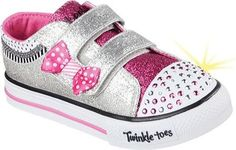 Skechers Infant Girls' Twinkle Toes Shuffles Bow Buddies Sneaker Silver/Hot Pink Size 5 M, Infant Girl's