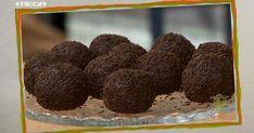 Τρούφες σοκολάτας με ρευστή πραλίνα - Δημήτρης Δράκος Tasty Bites, Sweet Recipes, Love Food, Raspberry, Sweet Home, Sweets, Candy, Fruit, Cooking