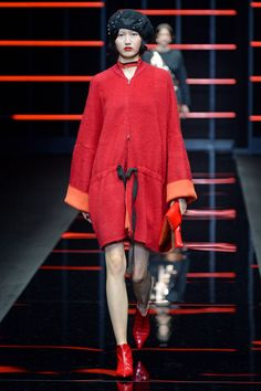 See all the looks from the show Show Reviews, Fall Trends, Emporio Armani, Fashion News, Fall Winter, High Neck Dress, Couture, Photos, Dresses