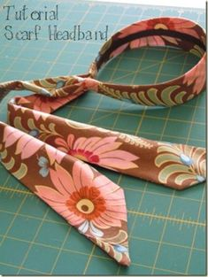 Fabric Bows and More: Amy Butler Scarf Headband by Tea Rose Home Fabric Headbands, Fabric Bows, Fabric Flowers, Scarf Headbands, Sewing Headbands, Flower Headbands, Fabric Glue, Pdf Sewing Patterns, Sewing Tutorials