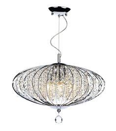 DAR Adriatic ADR0550 5 Light Crystal Pendant Ceiling Light