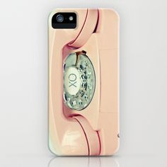 Pink old-fashioned landline rotary phone - Party Line iPhone & iPod Case by Simplyhue - $35.00.  Check out the artist's link.
