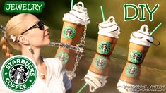 This is a video tutorial of How To Make Starbucks Cups Jewelry with a thimble and hot glue (glue gun). These mini Starbucks Coffee Cups (earrings and a penda...