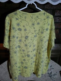 """JUST MY SIZE"" Comfort Soft Ladies Tee Short Sleeve Yello Blue Floral Cotton EUC #JustMySize #Tee"