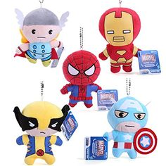 5 Piece Super Heroes Plush Toys Thor Spider-man Captain America Wolverine Iron Man Plush Dolls 11CM @ niftywarehouse.com