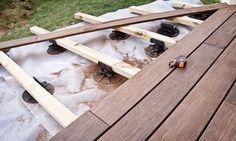 Faire une terrasse sur lambourdes : http://www.travauxbricolage.fr/travaux-exterieurs/terrasse-bois/faire-terrasse-sur-lambourdes/