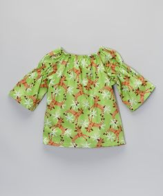 Loving this Green Reindeer Peasant Top - Infant, Toddler & Girls on #zulily! #zulilyfinds