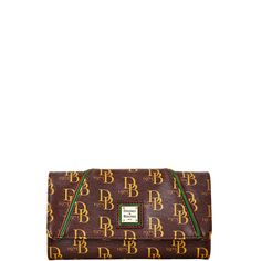 Dooney & Bourke | Sutton Harper Wallet | Our iconic logo print fabric gets a fresh new look with green suede piping and chocolate leather trim.