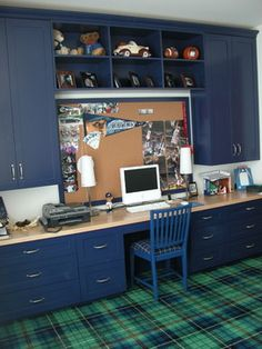 Kids Photos Modern Built-in Desk Cork Board Office Design Ideas, Pictures, Remodel, and Decor - page 2